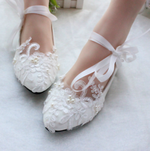 Handmade Lace Strap Low Heel Wedding Shoes Bridesmaid Shoes Party 2 Colors