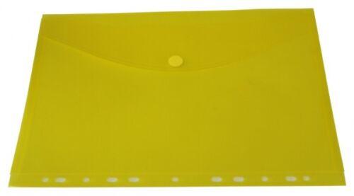 10x Dokumententaschen Umschläge Klettverschluss Abheftrand A4 gelb transparent