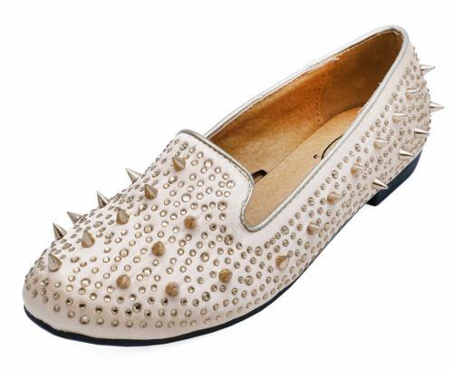 LADIES FLAT GOLD SATIN STUD SLIP-ON SHOES ROCK-CHICK LOAFERS BALLET PUMPS 3-8