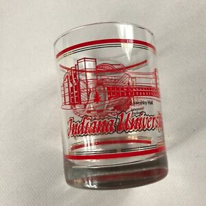 Indiana-University-Glass-VTG-Mixed-Drink-Hoosiers-Clear-Red-Gold-Rocks-Alumni