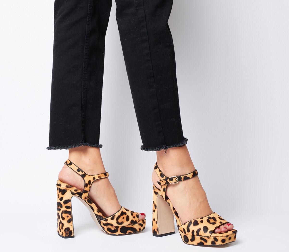Dedo del pie cuadrado para mujer Oficina Husky Plataforma Tacones Tacones Tacones Tacones De Cuero de poni de leopardo  distribución global