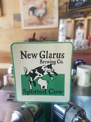 Papieren reclame NEW GLARUS BREWING spotted cow WISCONSIN BUMPER STICKER decal craft beer brewery