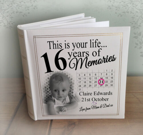 Personalised large photo album, 200 x 7x5 photos, 16th birthday memory book.