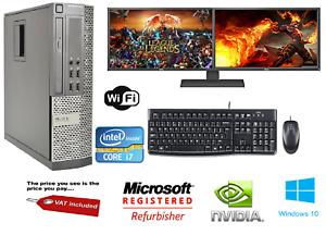 Ultra-Rapida-Paquete-De-Pc-Para-Juegos-Intel-Core-i7-8GB-1TB-pantalla-de-Windows-10-GT710-Dual