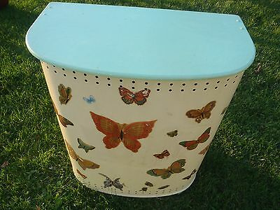 "NICE VINTAGE METAL DETECTO NEW YORK PAINTED BUTTERFLY HAMPER 23 1/2"" TALL"