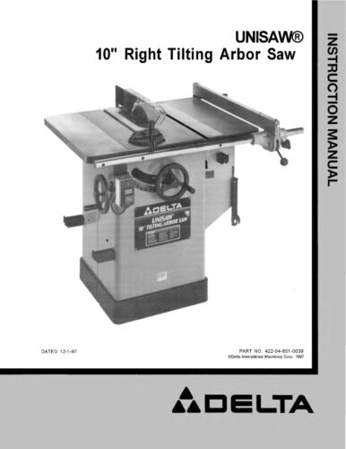 Delta Table Saw Model 34-761 Instruction  Manual