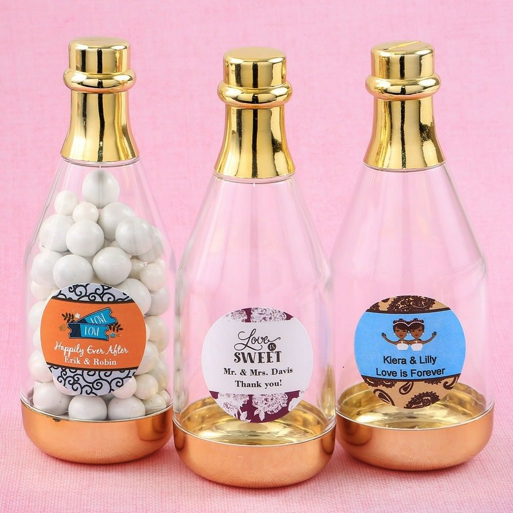 50 Personalized Gold Champagne Bottle Candy Box Wedding Shower Party Favors