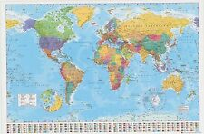Laminated World Map Silk Poster 60x90cm With Country Flags Detailed Wall Chart