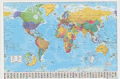 LAMINATED WORLD MAP POSTER 61x91cm With Country Flags Detailed Wall Chart NEW