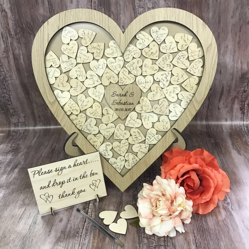 Personalised oak wedding heart shaped guest book drop box wooden 104 hearts gift