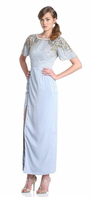 Virgos Lounge Blau Olivia Embellished Wrap V Back Maxi Wedding Party Dress 10 38