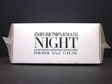 EMPORIO ARMANI NIGHT FOR HIM Eau De Toilette Spray For Men 1.7 Oz / 50 ml RARE !