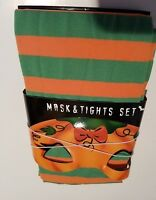 Girls No Name Brand Halloween Mask & Green Orange Tight Set Size Small Medium