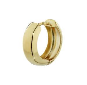 Single 8K 333 yellow Huggie earring 15 x 5.1mm mirror polished round