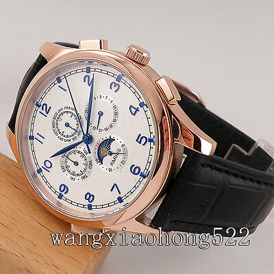 44mm Parnis white dial rose gold moon phase automatic mens Wrist WATCH 535