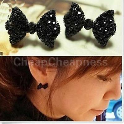 WF18 A Pair Fashion Black Rhinestone Crystal Bowknot Bow Tie Stud Earring CA018