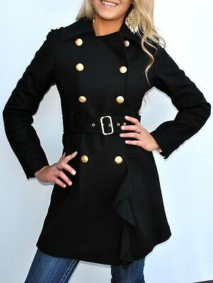 New Womens Guess Los Angeles Black Wool Ruffle Military Style Coat Jacket Medium
