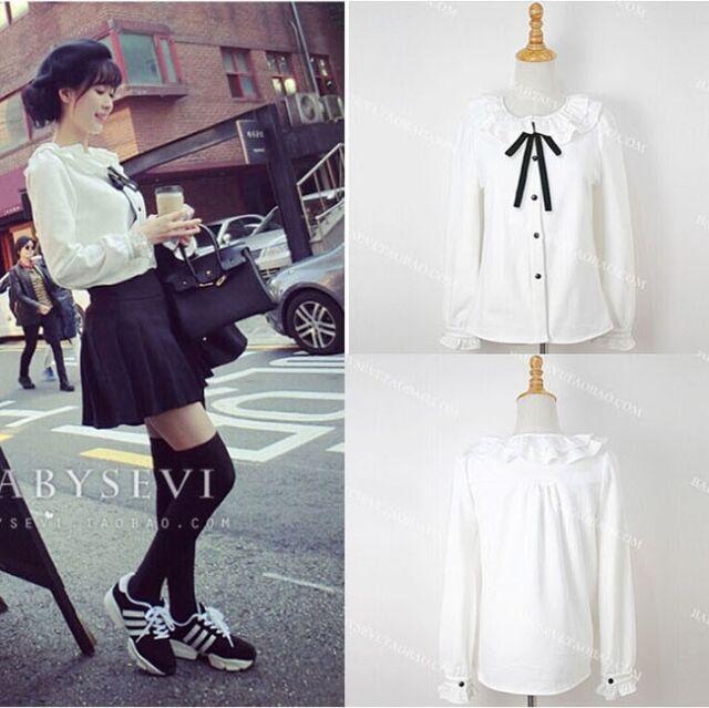 Womens Korea Kawaii Cute Lolita collar Bowknot Shirt Blouse White Top