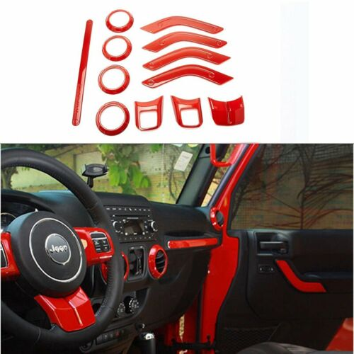 12Pcs Full Set Interior Decoration Cover Trim Kit For 2011-2017 Jeep Wrangler JK
