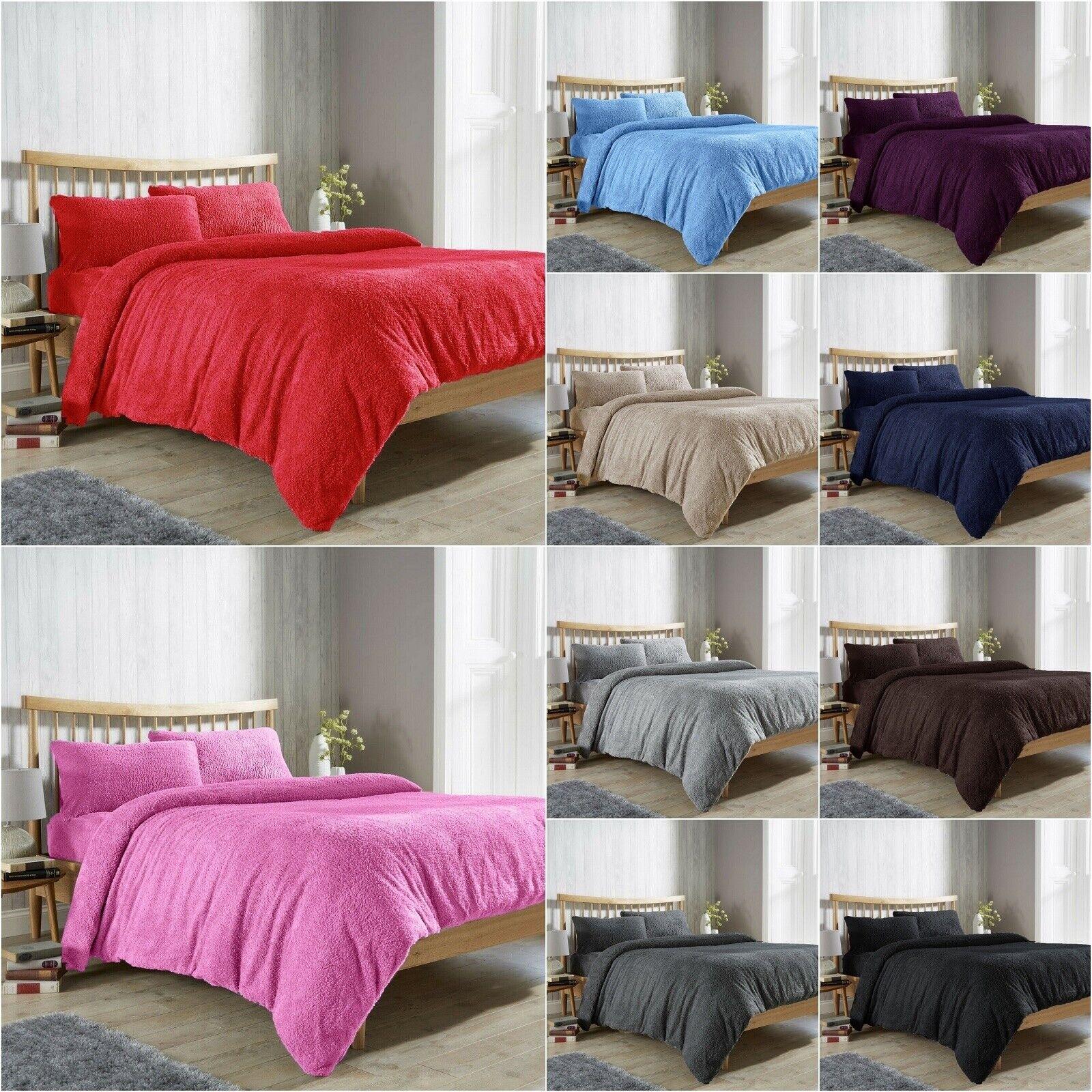 Warm Fleece TEDDY BEAR Duvet Cover Set Pillowcase Super Soft All Sizes 13 COLORS