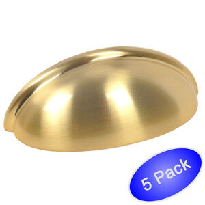 *5 Pack* Cosmas Cabinet Hardware Brushed Brass Bin Cup Handle Pulls #783bb
