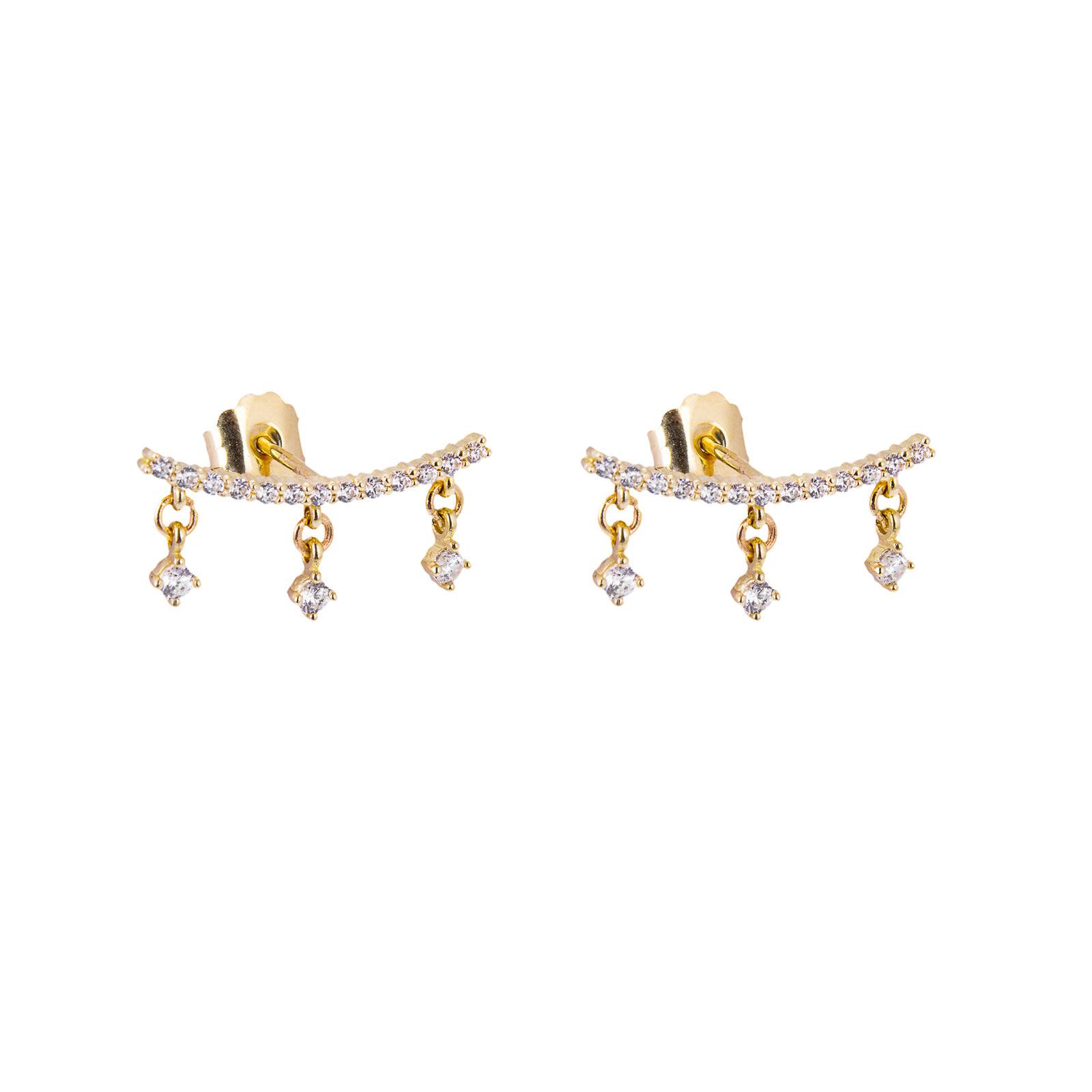 9ct gold Clear CZ Climber Dangle Stud Earrings