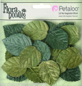 LEAVES-Mixed-GREEN-x-30-Pack-VELVET-30-mm-long-x-25-mm-wide-Petaloo