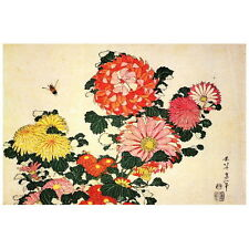Chrysanthemums and a Bee by Hokusai Deco FRIDGE MAGNET, Japanese Art Repro Gift
