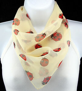 Red-Ladybugs-Women-039-s-Cute-Bug-Insect-Ivory-Animal-Ladies-Square-Vanilla-Scarves