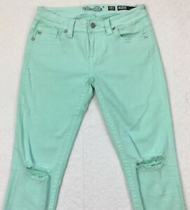 Miss-Me-Mid-Rise-Ankle-Skinny-Jeans-Size-28-Mint-Green-Ripped-Knee-Frayed-Hem
