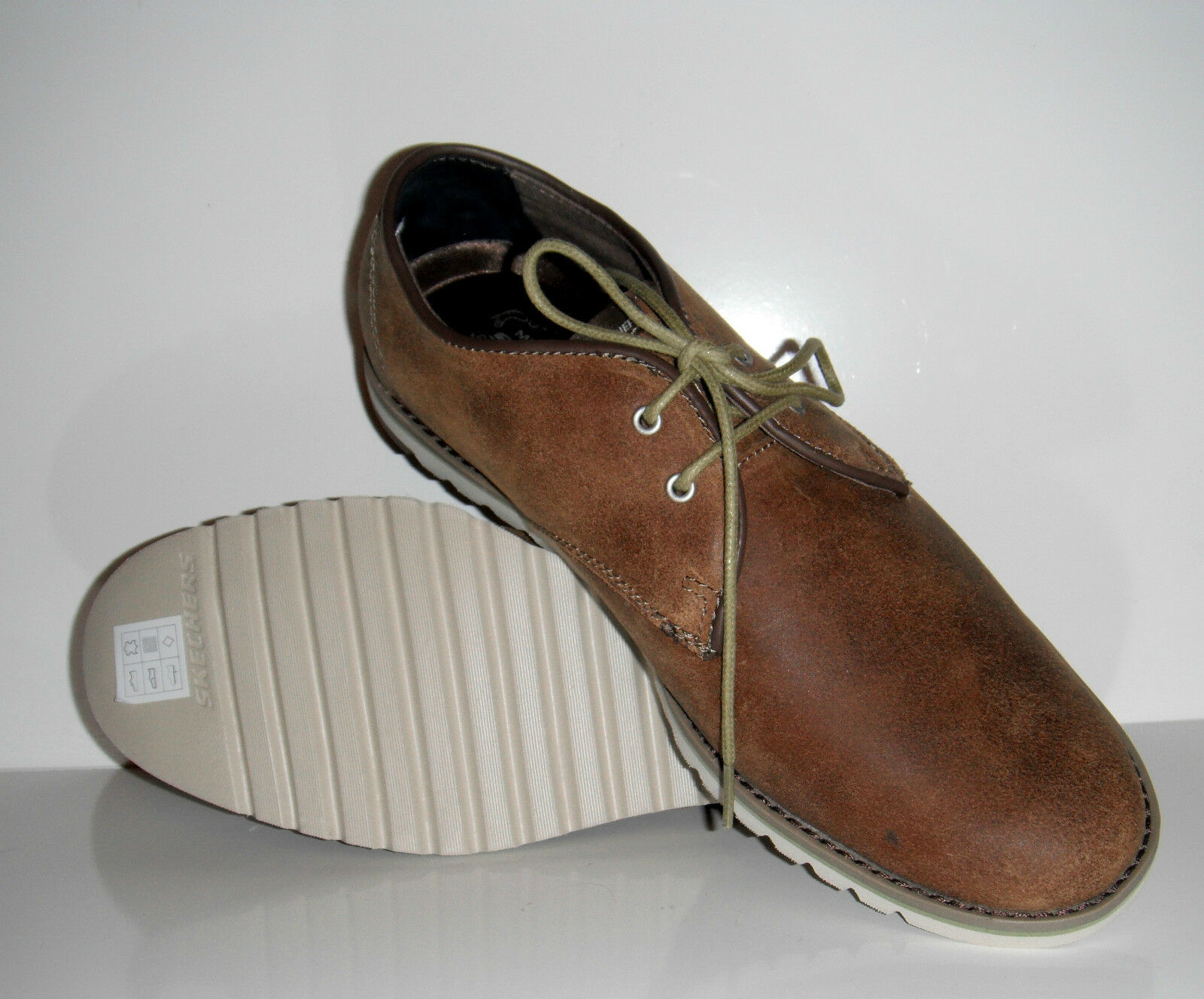 110 New Skechers Men Ribley Monaco Lightweight Brown Suede Oxfords shoes sz 8.5M