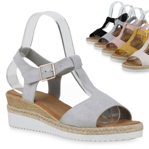 Damen Sandaletten Keilsandaletten Bast Keilabsatz Sandalen Wedges 830907 Trendy