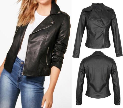New Women Vintage PU Faux Leather Side Zip Black Motorcycle Biker Jacket 8-16 UK