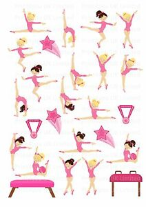 Gymnastic Cake Decorations Uk : 26 icing cupcake cake toppers decorations edible Gymnastic ...