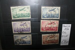 FRANCIA-FRANCE-1936-034-AIRPLANES-034-P-A-TIMBRATI-USED-LOT-CAT-B