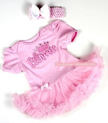 Newborn Light Pink Baby Dress Romper Jumpsuit PRINCESS PRINT Pinks Skirt NB-12M