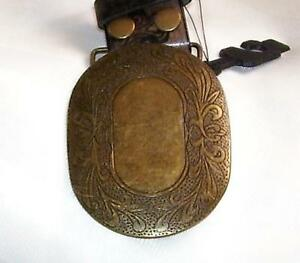 Oval-Weathered-Aged-GOLD-Tone-3-5-X-2-75-Snap-ON-Belt-BUCKLE-Only