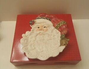 Fitz-amp-Floyd-classics-Jolly-Old-St-Nick-Santa-canape-plate-9-034-or-wall-hanging