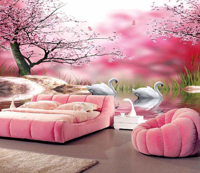 3D Wasser Schwan, pink Baum Fototapeten Wandbild Fototapete BildTapete Familie