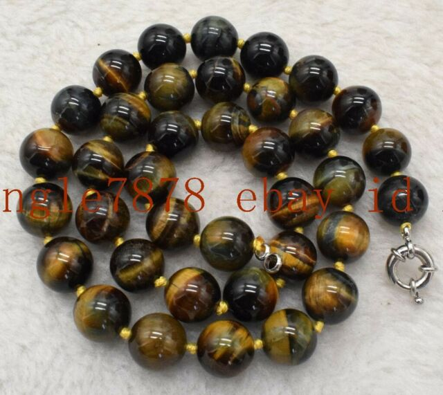"""Natural 10mm Yellow Tiger/'s Eye Round Gemstones Beads Pendent Necklace 18/""""AAA"""
