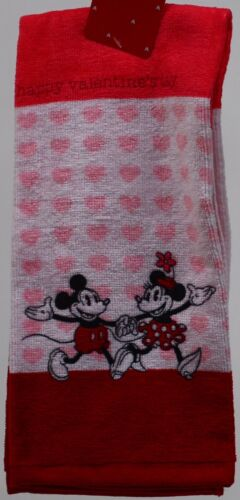 Disney Mickey /& Minnie Mouse Valentine/'s Pink Red White 2 Kitchen Towel 16X26