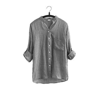 Fashion Women Oversized Loose Casual Long Sleeve Tops Linen Shirt Blouse T Shirt