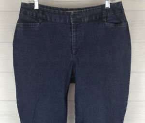 St-John-039-s-Bay-Womens-Size-12-Stretch-Blue-Dark-Wash-Classic-Fit-Bootcut-Jeans