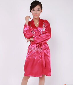 49c0a96bc7a2 Chinese women s silk robe gown pajamas sleepwear twinset plum red Sz ...