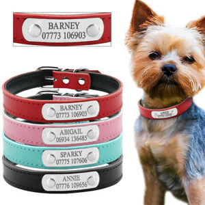 Soft-Leather-Personalised-Dog-Collars-for-Small-Dogs-Pet-Puppy-4-Colours-XS-S-M