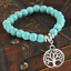 UK-Silver-Tree-Of-Life-Charm-Pendant-Turquoise-Bead-Bracelet-Crystal-Gemstone