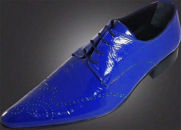 Original Chelsy - Italiano Diseñador Cordones Patrón Agujeritos Handmade Azul