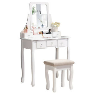 Details about Makeup Vanity Dressing Table W/Stool 5 Drawers&Mirror Jewelry  Wood Desk White