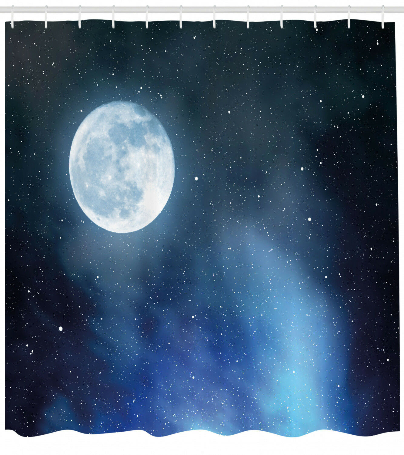 Moon Shower Curtain Starry Night Sky Full Print For Bathroom D3d0e6