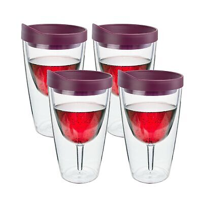 Insulated Vino Double Wall Acrylic Wine Tumbler with Merlot Drink Through Lid Pack of 4 Southern Homewares Wine 2Go 16-Ounce